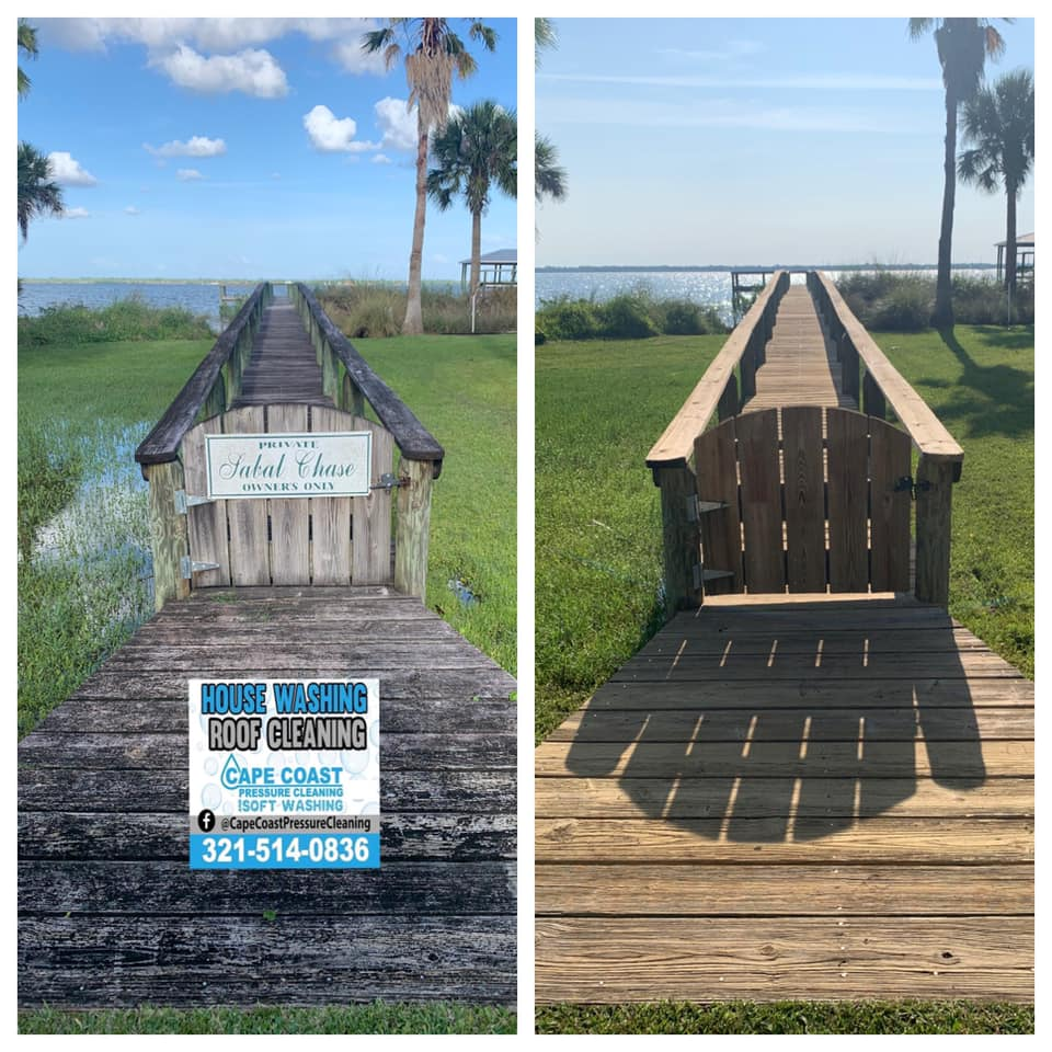Photo number 3 of Cape Coast Pressure Cleaning & Soft Washing's best work performing a Pvc and wood deck or fence cleaning job