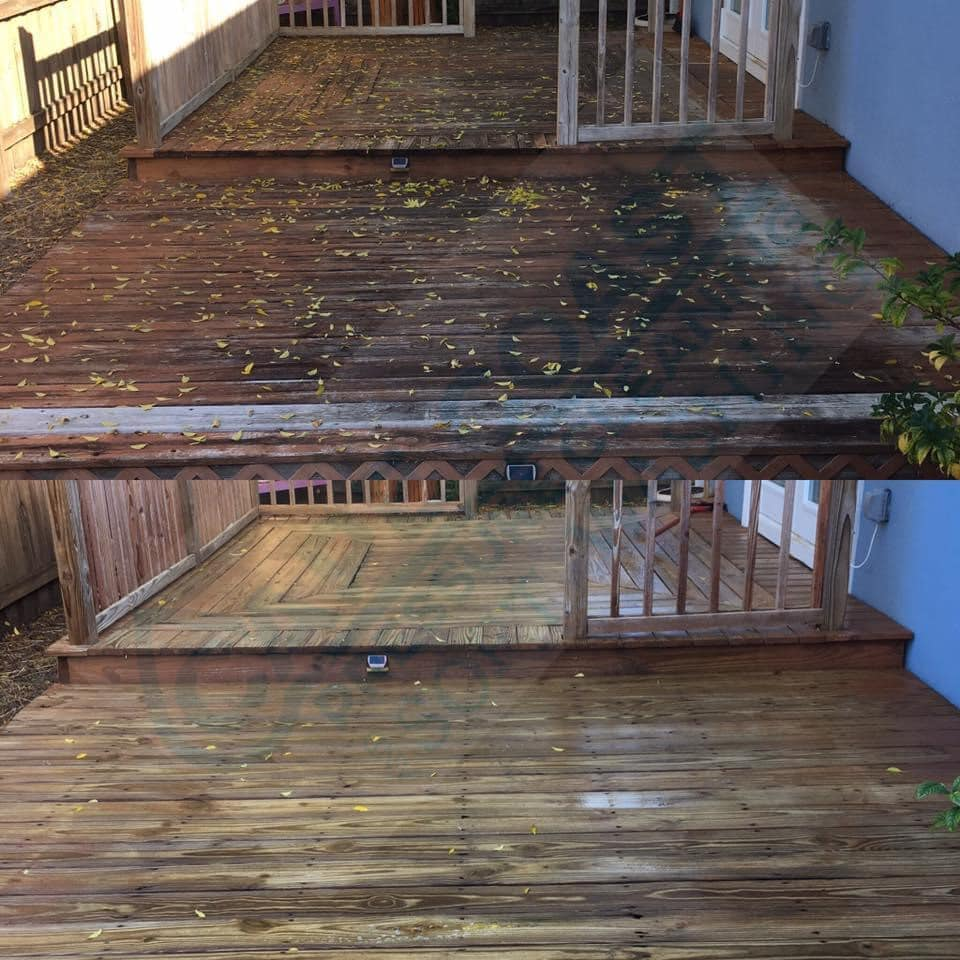 Photo number 6 of Cape Coast Pressure Cleaning & Soft Washing's best work performing a Pvc and wood deck or fence cleaning job